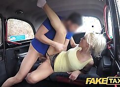 Busty milf Ange sucks and fucks taxi drivers cock