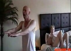 Blonde Cutie Caroline D finishes giving her mans step dad a blowjob