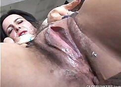Amazisons hairy chocolate pussy stuffed hard during sex