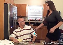 Busty MILF and sons kitchen sex