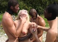 Anisyia is rammed from behind in group sex