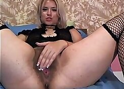 Busty blonde gets her hairy pussy and asshole destroyed in threesome
