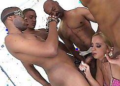Black Gang Bang White Girl And Licks Cock