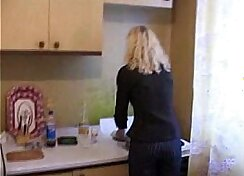 Cheating Brunette Russian Mother having her jugs checked by BladeFrog