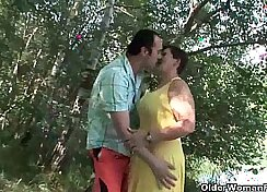 Busty mommy called Banana Sweets doggystyles before outdoor fucking