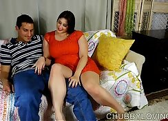 BBW play with huge tits dong and cum