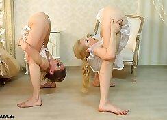 crossdresser and cutie teasing in corset