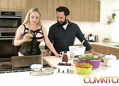 Big tit blondie kitchen full of cum